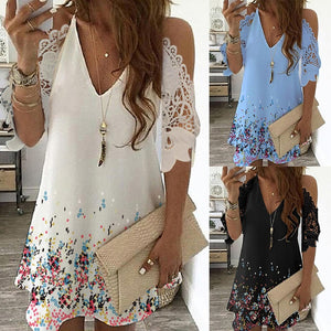 Print Floral Vintage Dress Women Summer Casual V-Neck Beach Sling Dress Off Shoulder Lace Party Dresses Plus Size Robe