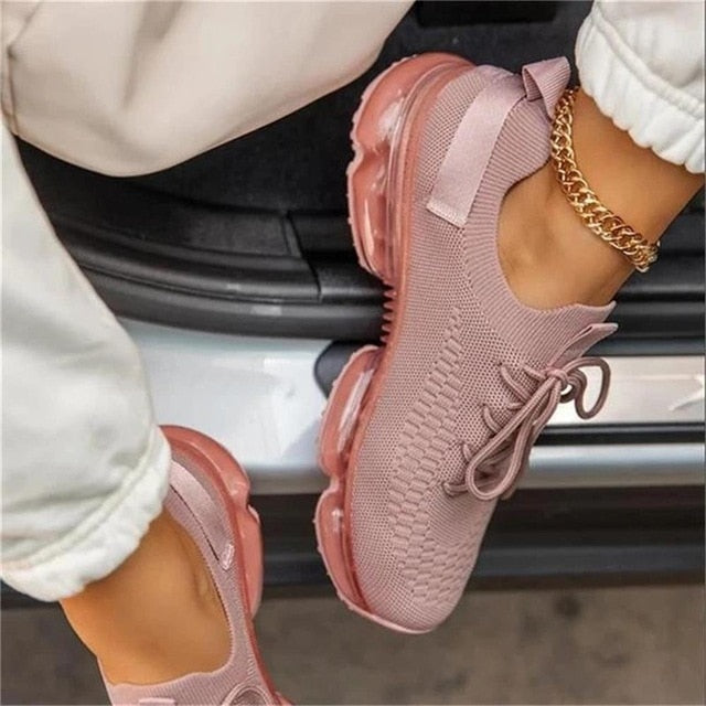 Women Breathable Sneakers 2021 Spring New Color Matching Mesh Lace Up Ladies Casual Shoes Outdoor Flat Sport Vulcanized Shoes
