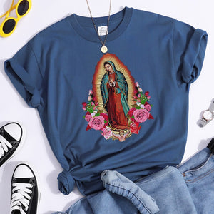 Women T-Shirts Virgin Mary Of Guadalupe Clothing Fashion Oversized Shorts Sleeve Tops Black Color Vintage Woman T Shirts