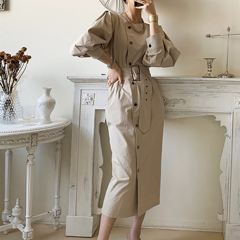 Autumn Spring Women Dress Single-breasted Female Elegant Long Sleeve Belted Loose Vestidos Clothes