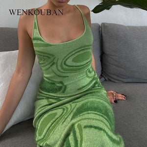 Print Knit Bodycon Party Dress Women Green Y2K Summer Dress Hollow Out Sexy Sleeveless Vestidos Spaghetti Strap Beach Midi Dress
