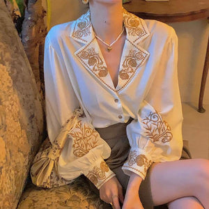 QWEEK Blouse Women Elegant Embroidered Floral Shirt Long Sleeve Shirt Women Office Ladies Tops Luxury Vintage Party Queen Blouse