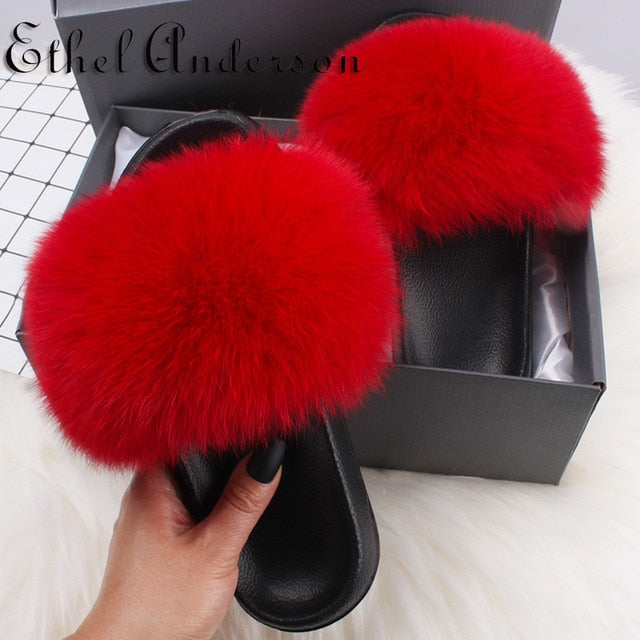 Ethel Anderson Real Furry Fox Fur Slippers Women's Cute Fluffy Fur Slides Natural Raccoon Flip Flops Sandals Plush Flat Shoes