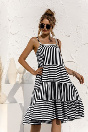 Dresses For Women Casual Black Fashion Ladies Backless Strap Striped Ruched One-Piece Slip Dress New Arrival 2021 Summer Clothes