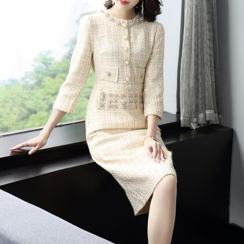 Tweed Dress Women Elegant Vintage Office Ladies Dresses 2021 New Arrival Autumn Winter Midi Knee Length Vestidos Clothes Sale