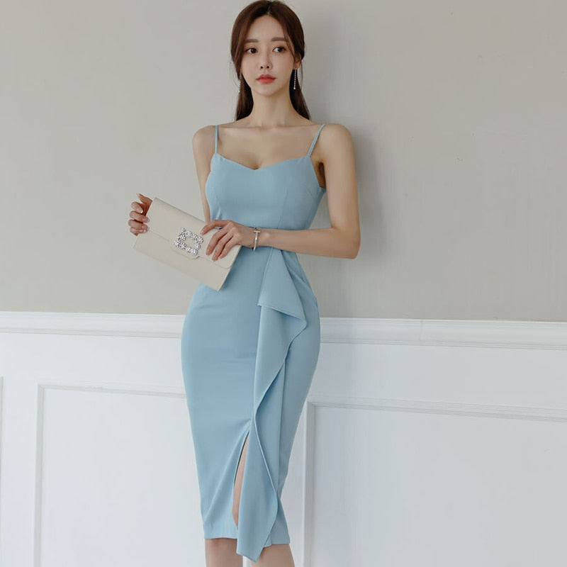 New Arrival Fashion Summer Skinny Midi Party Dress Women Elegant Beach Sexy Strap Hollow Ruffle SPlit Dress Vacation Clothes