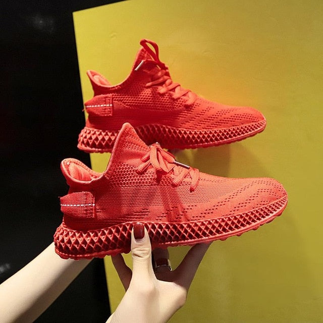 Fashion Spring Female Sneakers Women Shoes Korean Mesh Yellow Ladies Shoes Woman Lace Up Red Black Casual Shoes Breathable 2021