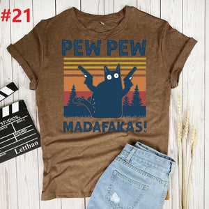 Pew Madafakas T Shirt Women Streetwear Tshirt Women Summer Cotton T-shirt Women Vintage T-Shirts Women Clothes Harajuk