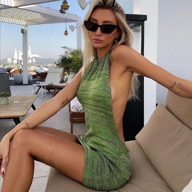 Summer Halter Sexy Backless Mini Dresses Bodycon Skinny Club Party Sleeveless Knitted Dress Fall Beach Holiday Women Clothing