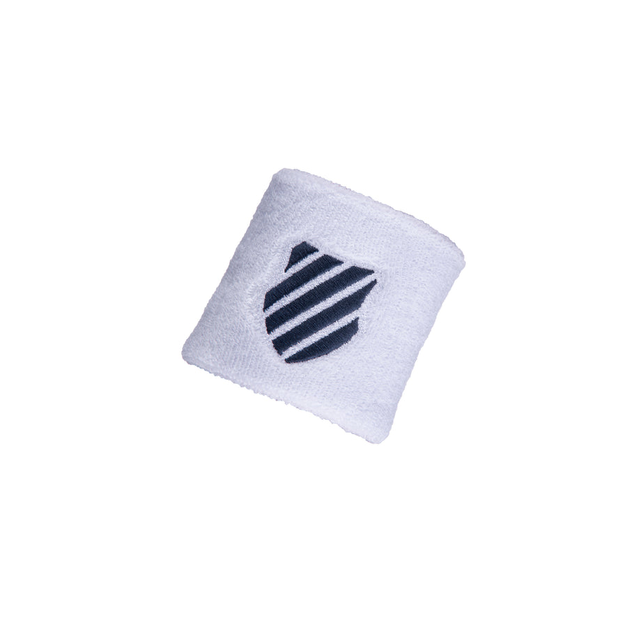 WB026-126 | WRISTBAND 2-PACK SHIELD | WHITE/BRUNNER BLUE
