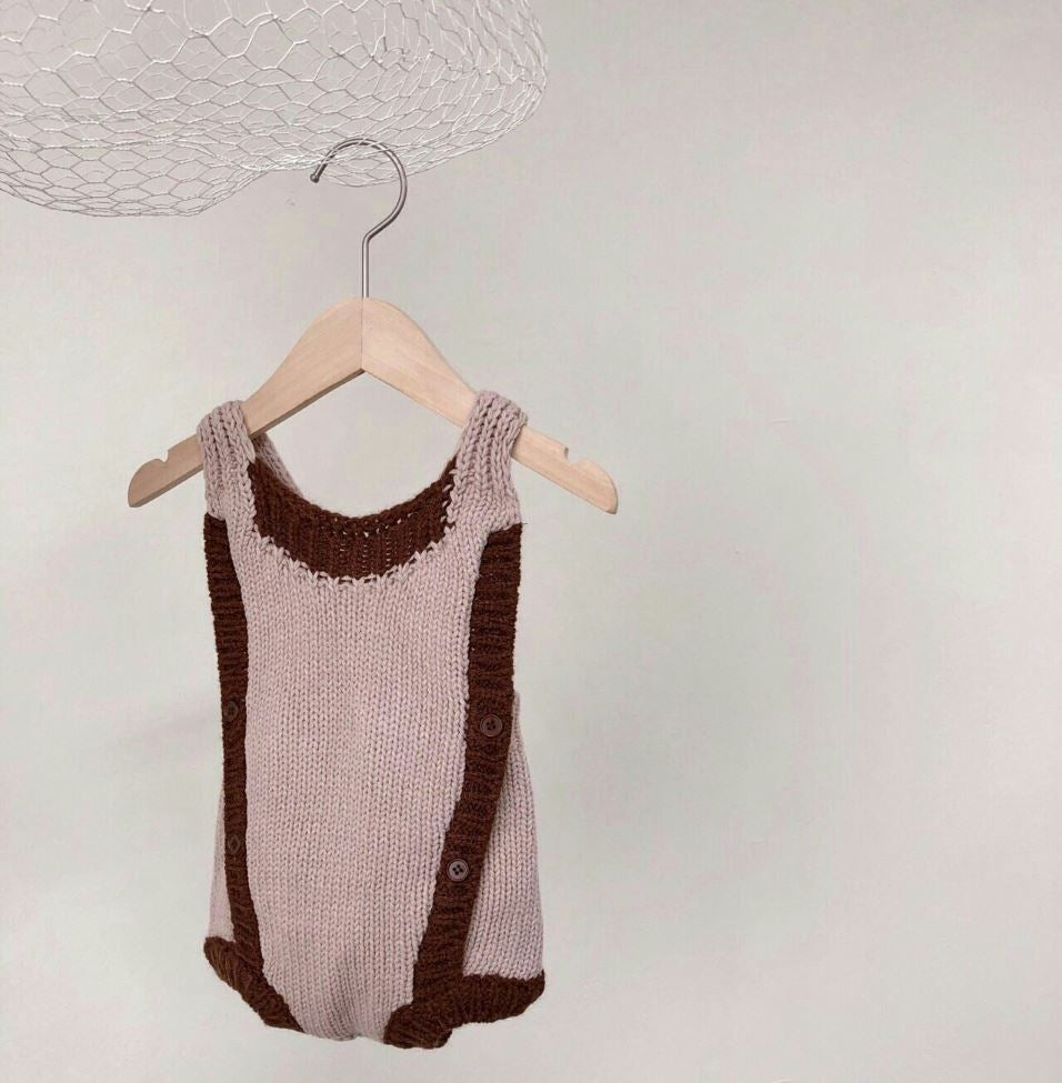 Two Tone Knit Romper, Dusty Pink