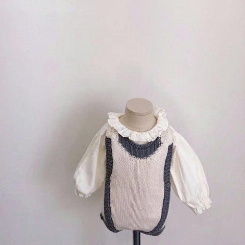 Two Tone Knit Romper, Cream