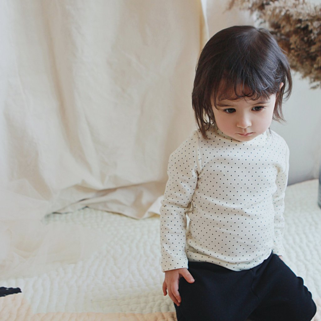 Baby Dotted Mock Neck Top, Ivory