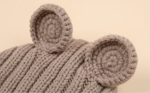 Bear Ears Knitted Bonnet, Beige