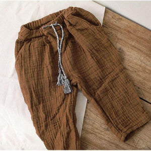 Natural Herringbone Trousers, Brown
