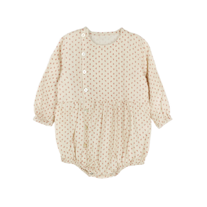 Baby Button Romper, Cream