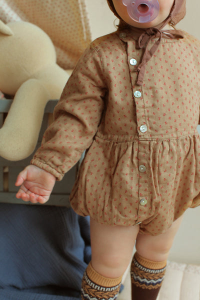 Baby Button Romper, Beige