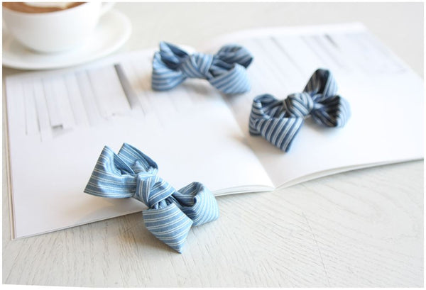 Denim Striped Bow Clip