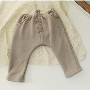 Fleece Relaxed Button Pants, Beige