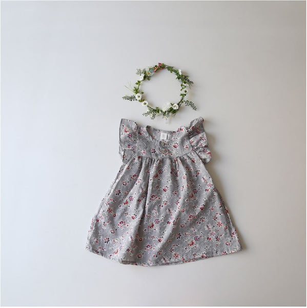 Floral Ruffle Sleeve Dress, Grey