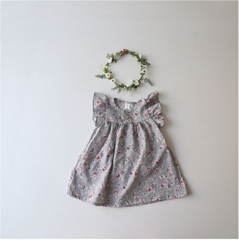 Floral Ruffle Sleeve Dress, Grey (2-3Y)
