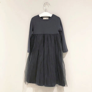 Tulle Layer Jersey Dress, Charcoal