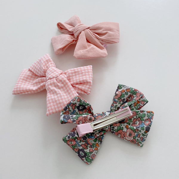 Three Bow Clip Set, Pink