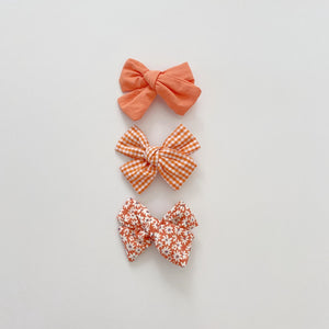 Three Bow Clip Set, Orange