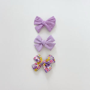 Three Bow Clip Set, Lilac