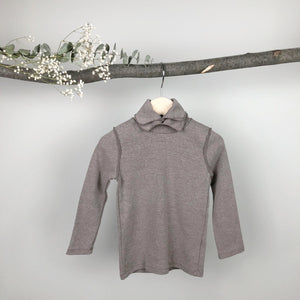 Double Collar Turtleneck Top, Mocha (2-3Y)