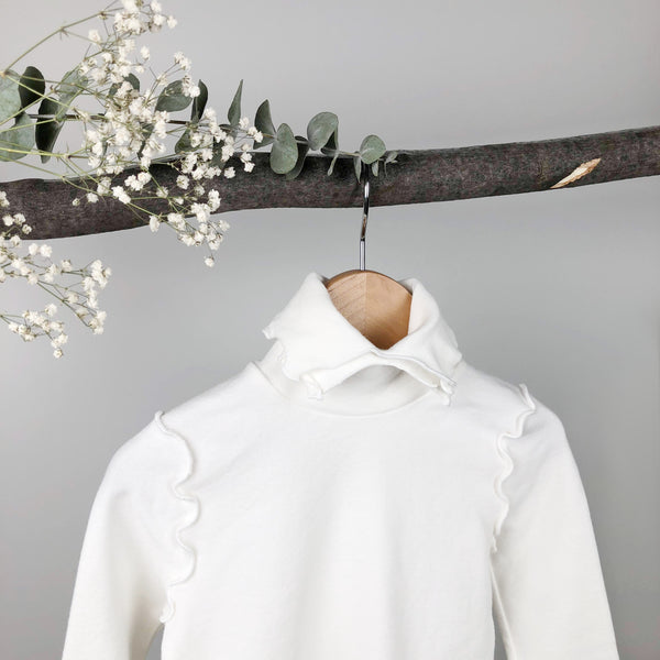 Double Collar Turtleneck Top, Off White (2-3Y, Last one)
