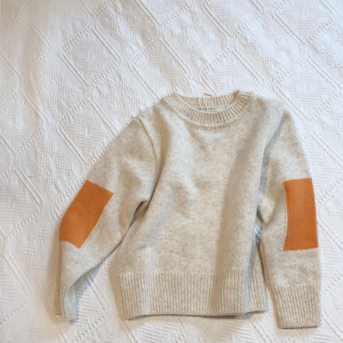 Square Elbow Sweater, Light Beige