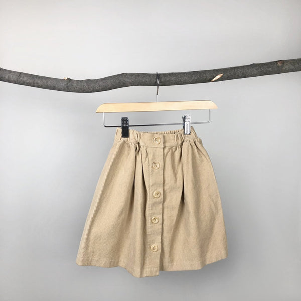 Corduroy Button Down Skirt, Yellow Beige