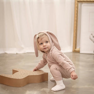 Soft Bunny Romper, Dusty Pink