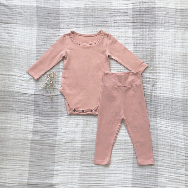 Solid Daily Baby Onesie Set, Light Pink