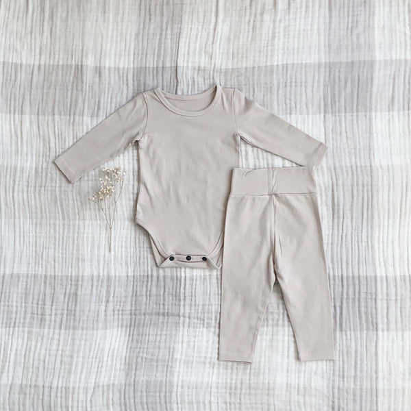 Solid Daily Baby Onesie Set, Light Taupe