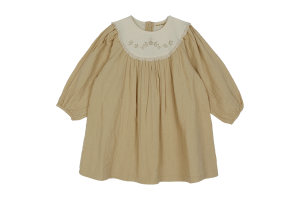 Mollar Embroidered Dress, Beige