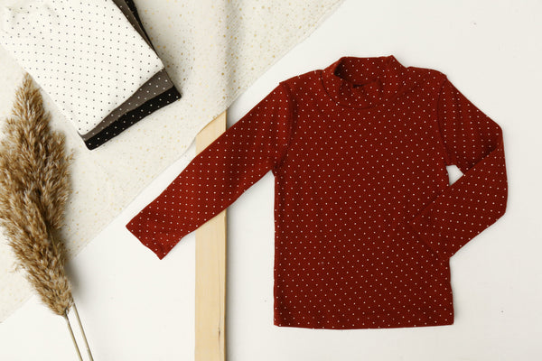 Baby Dotted Mock Neck Top, Burgundy