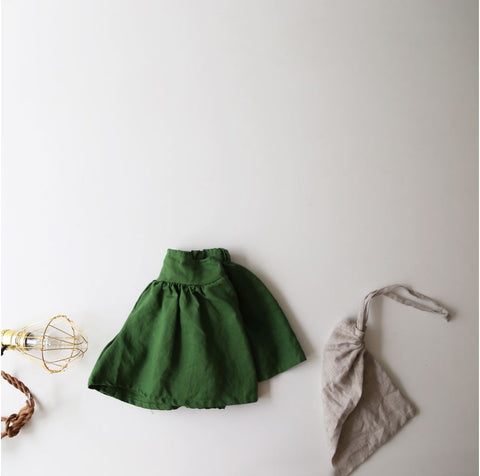 Linen Wide Shorts, Green (5-6Y)