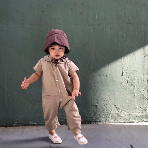 Linen Simple Jumpsuit, Beige (6-12M)