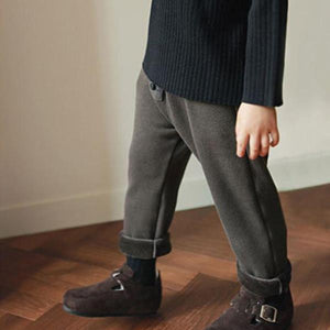 Fleece Relaxed Button Pants, Dark Brown