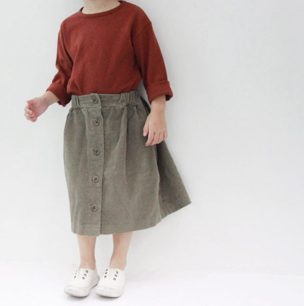 Corduroy Button Down Skirt, Olive