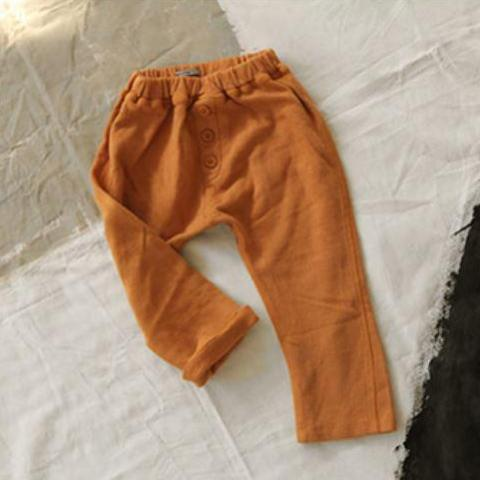 Button Soft Joggers, Orange Brown