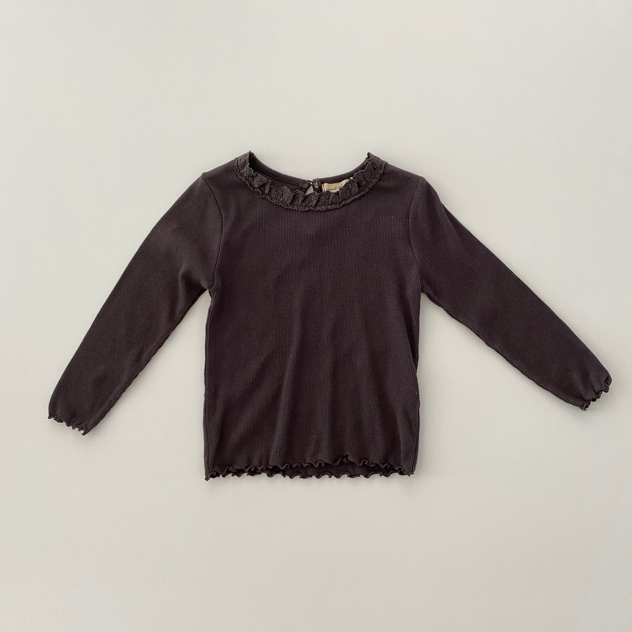 Rumi Laced Ribbed Top, Charcoal