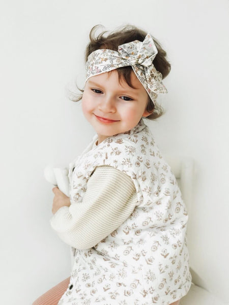 Floral Cotton Padded Vest, Ivory (2Y)