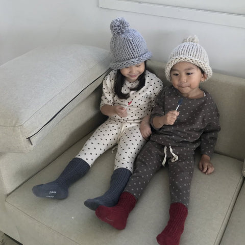 Dotted Basic Set, Dark Grey (3-5y)