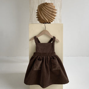 Caramel Corduroy Dress, Dark Brown