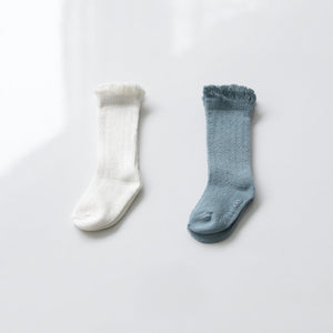 Lace Ruffle Knee Socks Set, Sea Blue