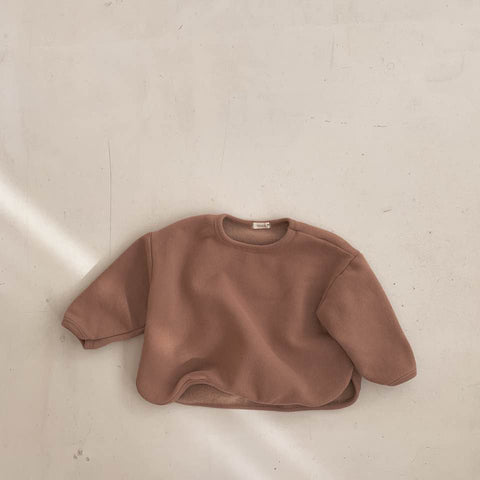 Round Hem Fleeced Sweat, Brick Brown