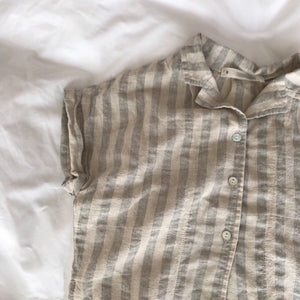 Linen Stripe Summer Shirt, Beige